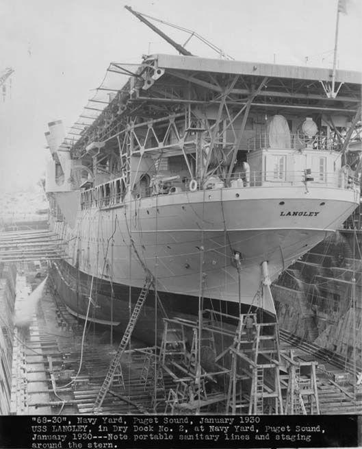 Uss Langley Cv 1 In Dry Dock At Puget Sound Navy Yard Jan 1930