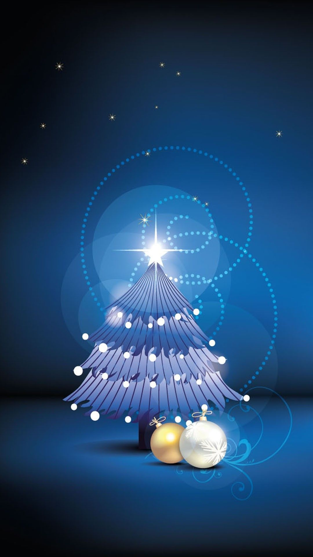 Wallpaper iphone natal - Night Christmas Tree Iphone 6 Plus Wallpaper Stars