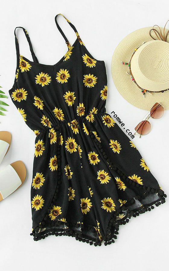 0eb4bad5d2 Sunflower Print Pom Pom Trim Cami Romper | Spring/Summer Outfits ...