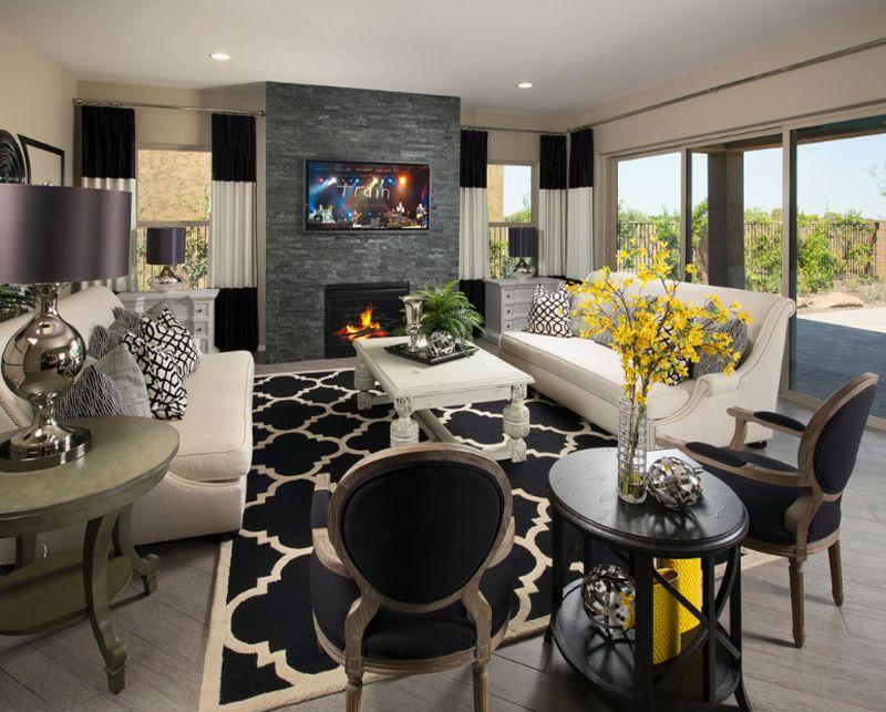 Schöne Wohnzimmer ~ Schöne wohnzimmer mit geometrischen teppichmuster