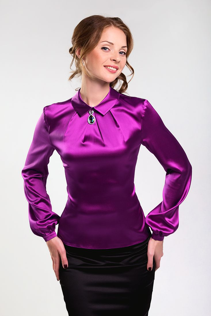 Purple Satin Silk Blouse Satin Blouse Pinterest