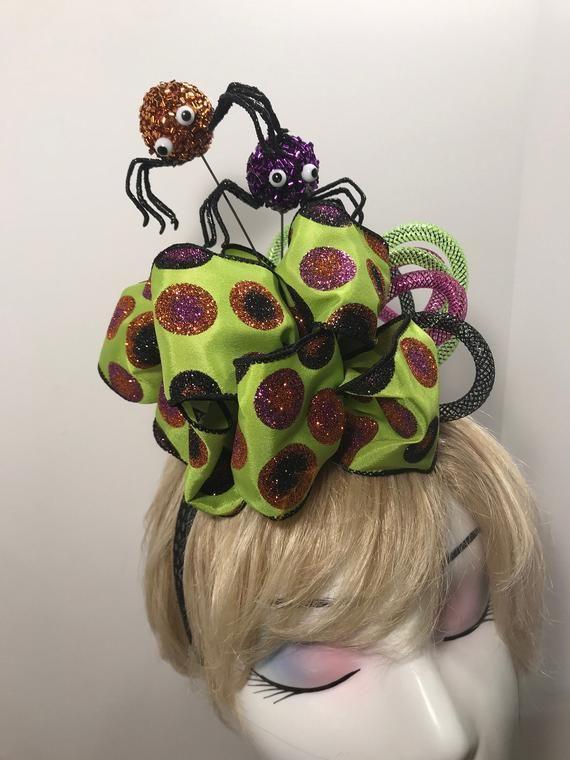 Halloween Fascinator Headband Orange Spidy With Images Fascinator Headband Headbands Fascinator Hairstyles