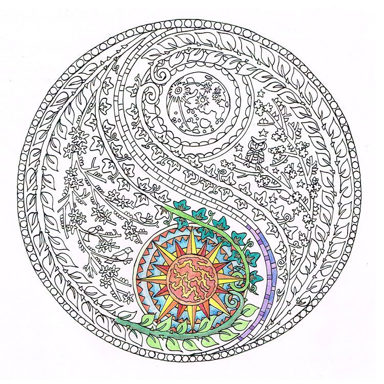 Coloring For Adults Yin Yang Moon And Sun Printable Adult