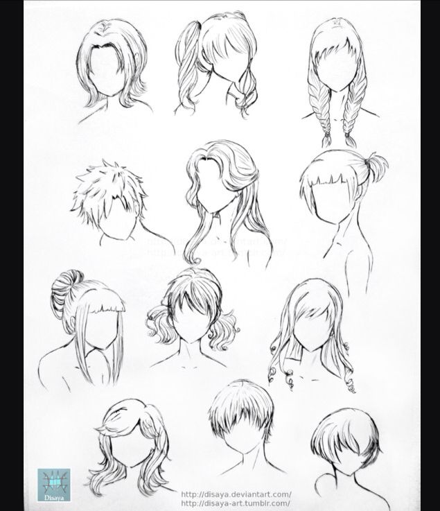 Hair References Credit To Disaya On Devianart And Tumblr 3 Drawings Anime Drawings How To Draw Hair