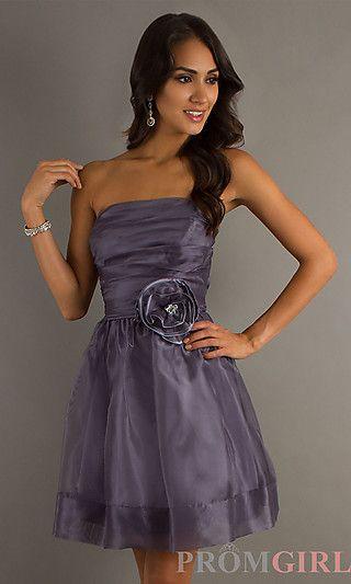 A-Line Strapless Short Formal Dress at PromGirl.com