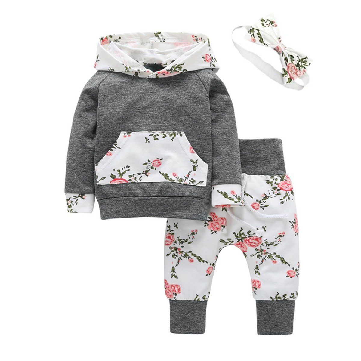 Headband Outfit Set Newborn Toddler Infant Baby Girls Long Sleeve Floral Hoodie Tops Sweatsuit Elastic Pants