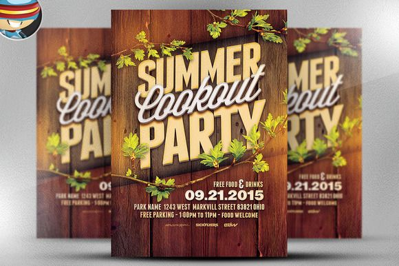 summer cookout party flyer template flyers flyer ideas