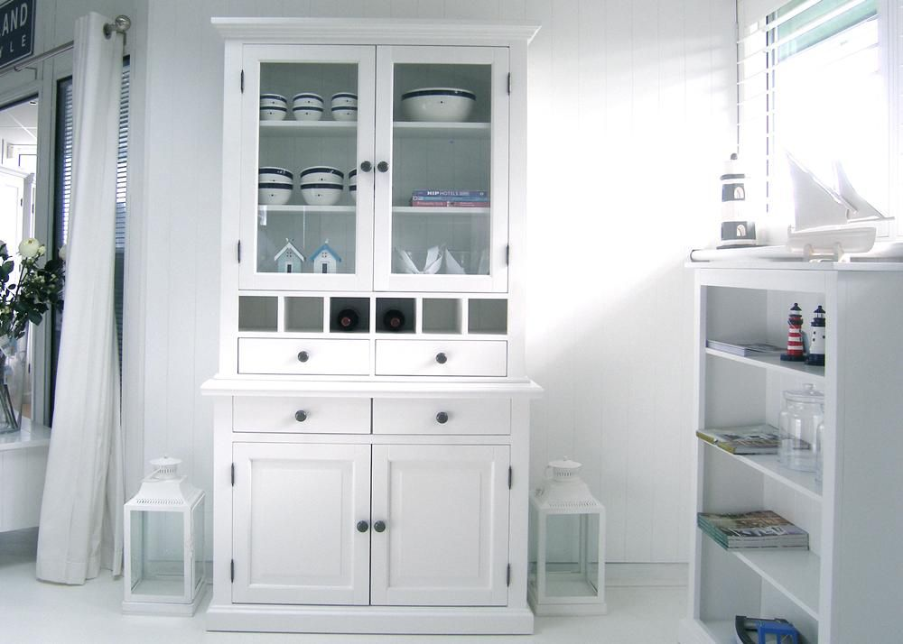 New England Small White Dresser With Glass Doors