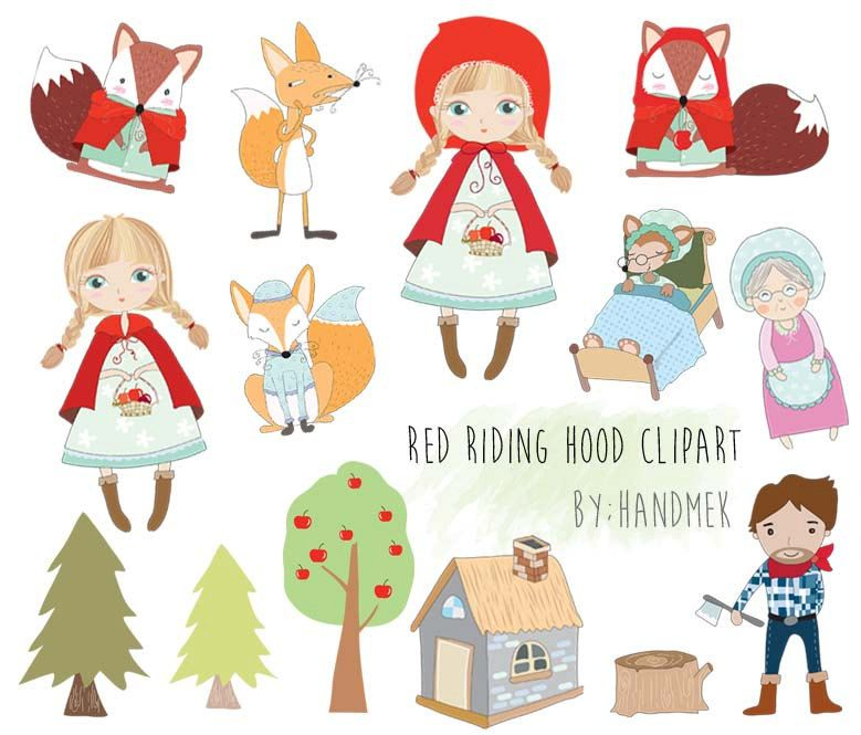 Cute Red Riding Hood Clipart Png File 300 Dpi By Handmek On Etsy