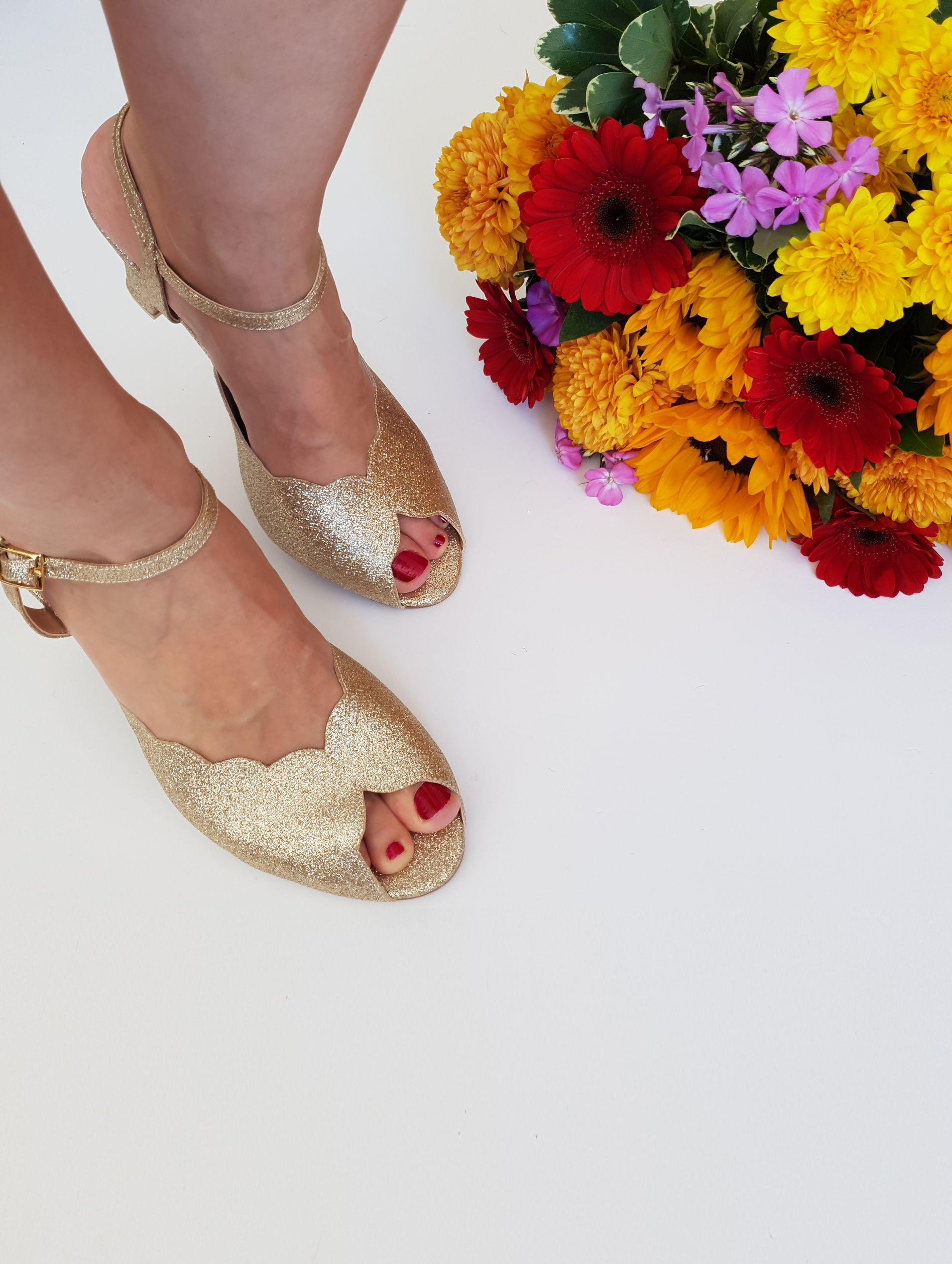 cca0636cc4197 Adina Vegan Bridal Shoes, Sparkly Gold High Heel Wedding Sandal with ...