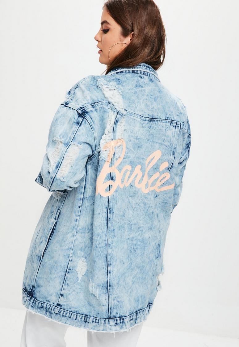 6c37ae356 Plus Size Barbie x Missguided Blue Barbie Denim Jacket