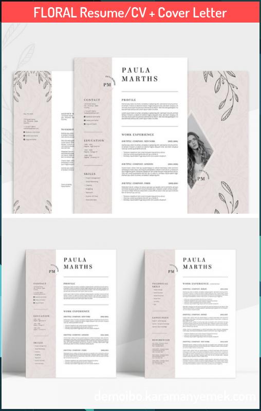 Floral Resume Cv Cover Letter Floral Resume Cv Cover Letter Aleyna Aleyna0101 Business Of In 2020 Resume Design Creative Resume Design Template Cv Cover Letter