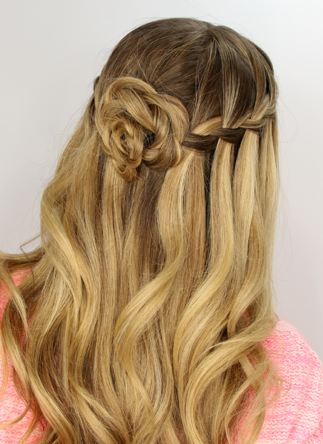 How To Make Water Fall Braid And Flower Bun Hairstyle Hair Styles