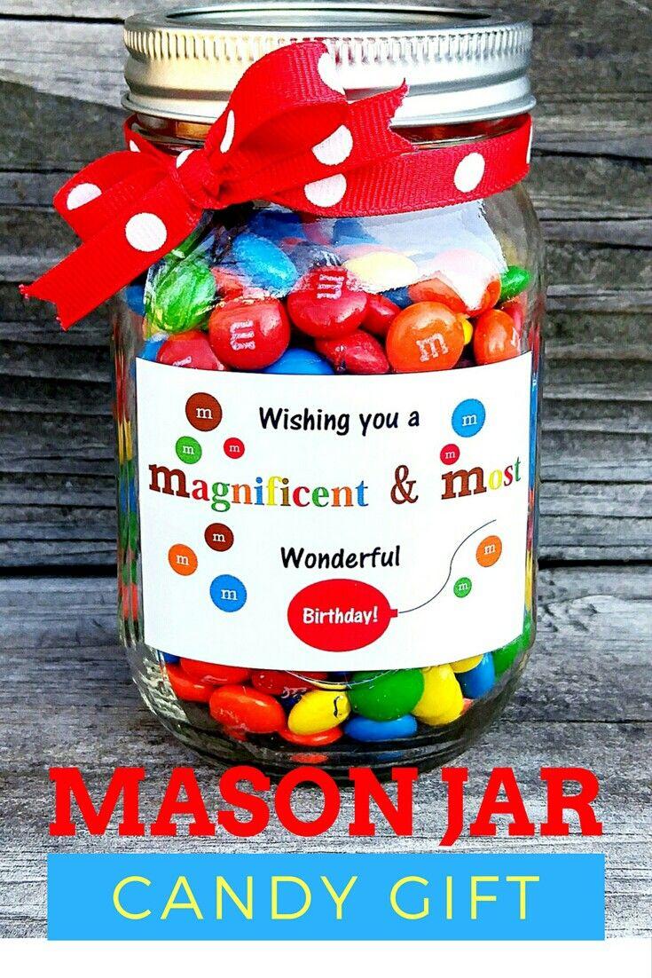Birthday Candy Mason Jar Gift Idea Mason Jar Candy Mason Jar Gifts Birthday Candy