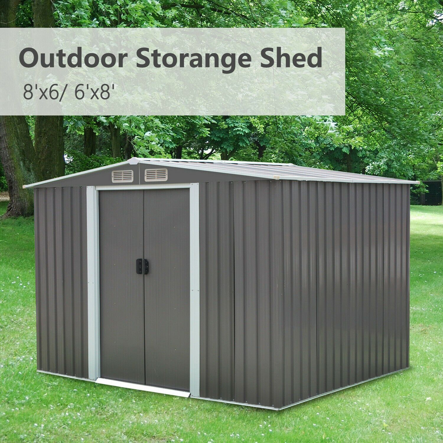 8 X6 Outdoor Garden Storage Shed Tool House Sliding Door Steel Backyard Outdoor Garden Storage Garden Storage Shed Shed