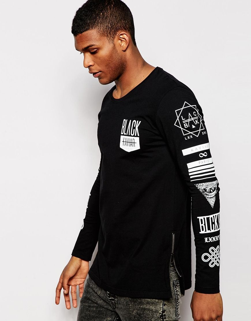 0c1472b35 Black Kaviar Longline Long Sleeve T-Shirt With Sleeve Print | New ...