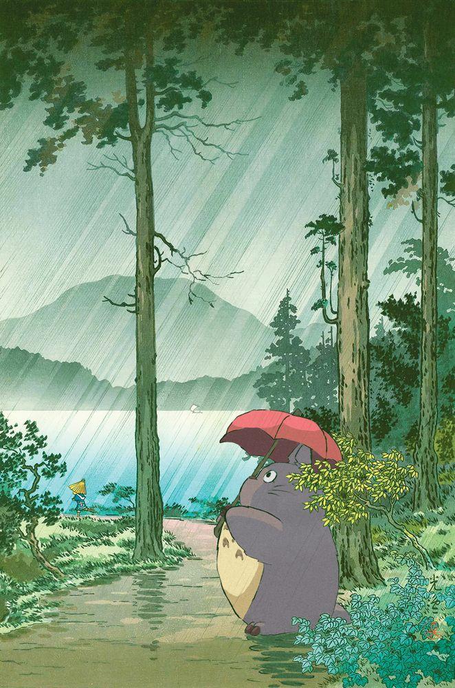 Anime and vintage japanese woodblock mashup Art Pr