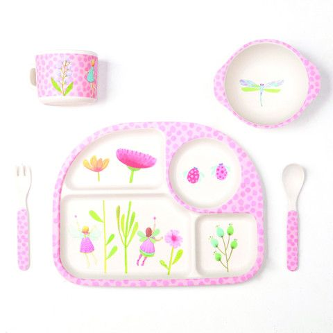 Bamboo Dinner Set With Divided Plate Fairy Garden 5 Piece Set Kids Dinnerware Baby Fairy Baby Bamboo