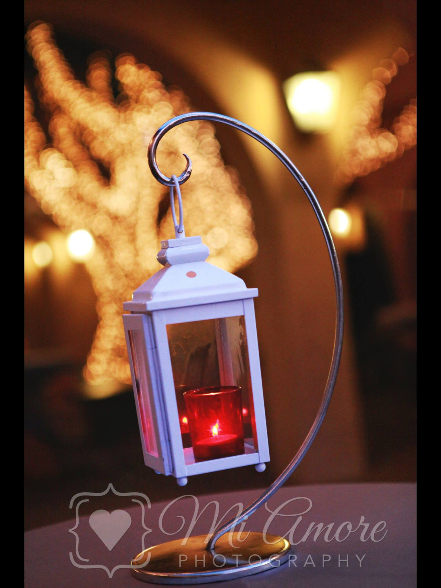 Hanging lights wedding decor  White lantern hanging on hook for high top tables  Cocktail Hour at