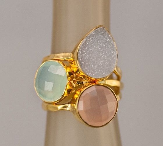 Statement Ring - Stacking Rings - Stackable Rings - Gemstone Ring-  Druzy Rings - Gold Rings -  Vermeil Ring