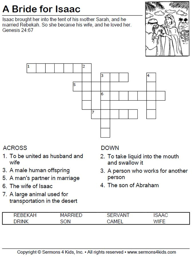 A Bride For Isaac Crossword Puzzle Bible School Crafts Bible Stories For Kids Sunday School Crafts