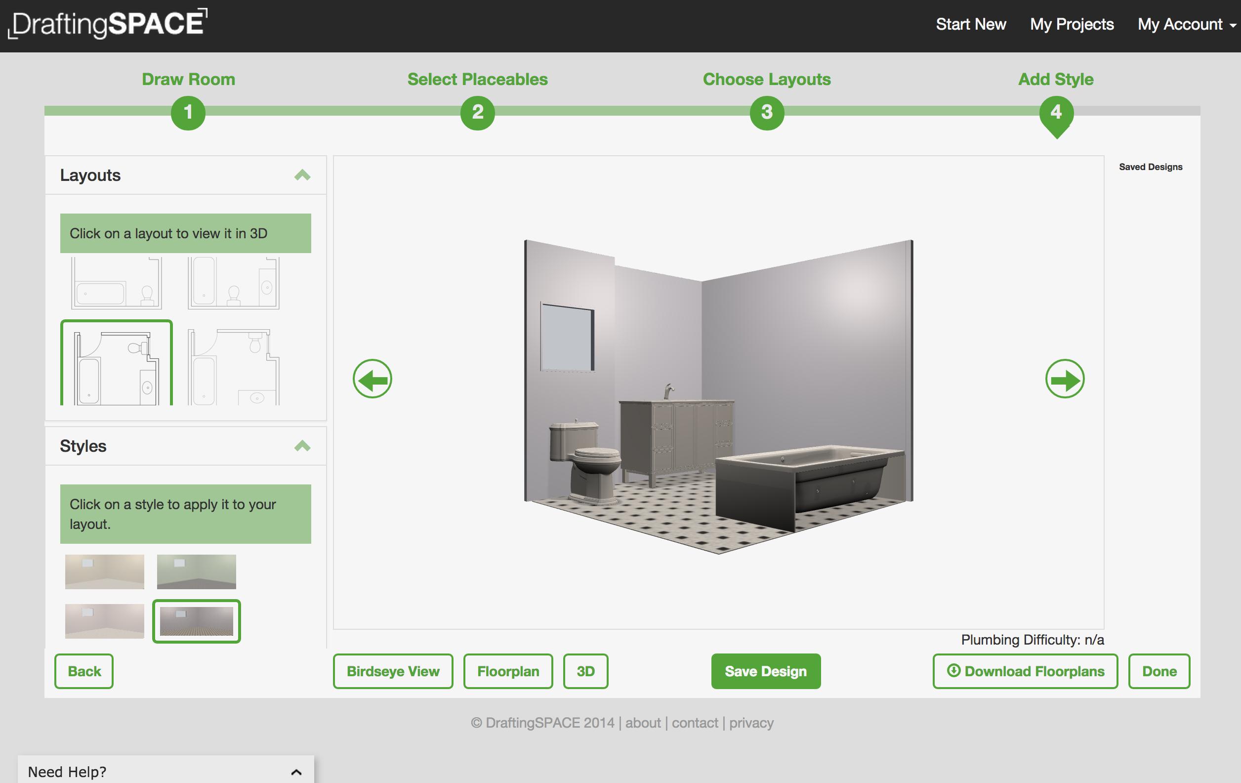 Favourite bathroom design #2, made using DraftingSPACE.com ...