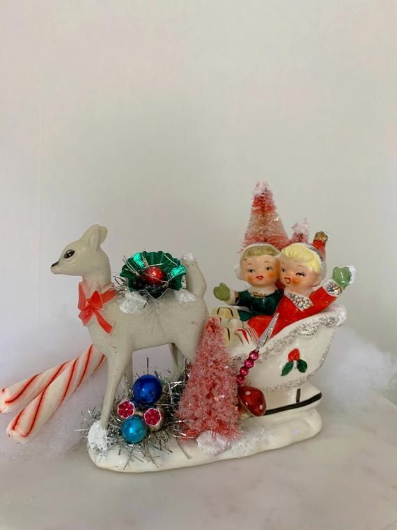 Vintage Christmas Kitschy Sleigh Decoration Vintage Sleigh and Reindeer Bottle Brush Trees Mercur  Vintage Christmas Kitschy Sleigh Decoration Vintage Sleigh and Reindeer...