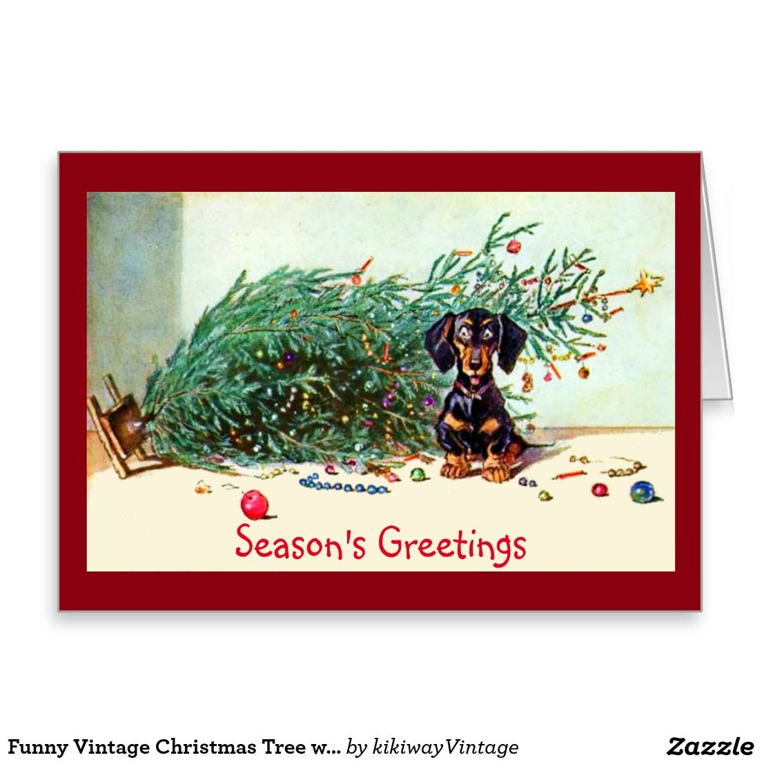 Funny Vintage Christmas Tree with a Dachshund Greeting Card | Puppy ...