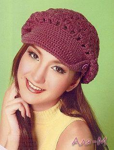 Voici des jolies casquettes , ornées toutes d'une visière , trouvées sur le site de & Liveinternet.ru/users/crochet_helen & , avec ses grilles gratuites et présentées sur ma page facebook & Le Crochet de Anne & . Casquette violette , ornée de boutons...