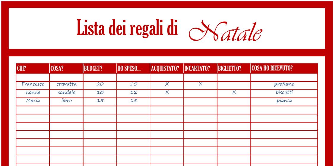 Lista Regali Natale.Diy Planner Co Lista Dei Regali Di Natale Lista