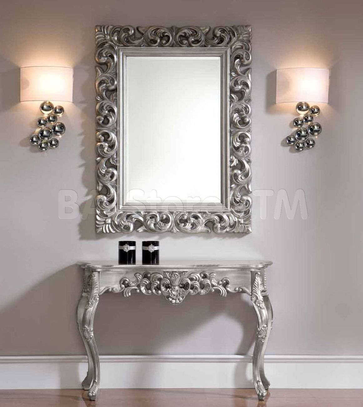 shop for silver console and mirror set esf furniture console tables esf ck58 s set 9. Black Bedroom Furniture Sets. Home Design Ideas
