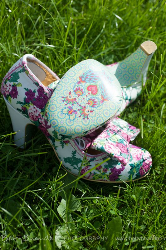 the shoes. No butterflies but flowers to attract them...