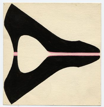 Glass Slippers, 1960. Gouache on paper. 12.2 x 11.1 cm
