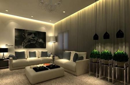 Deckenbeleuchtung Wohnzimmer ~ Beleuchtung im wohnzimmer decke wand effekt fliesen weiss