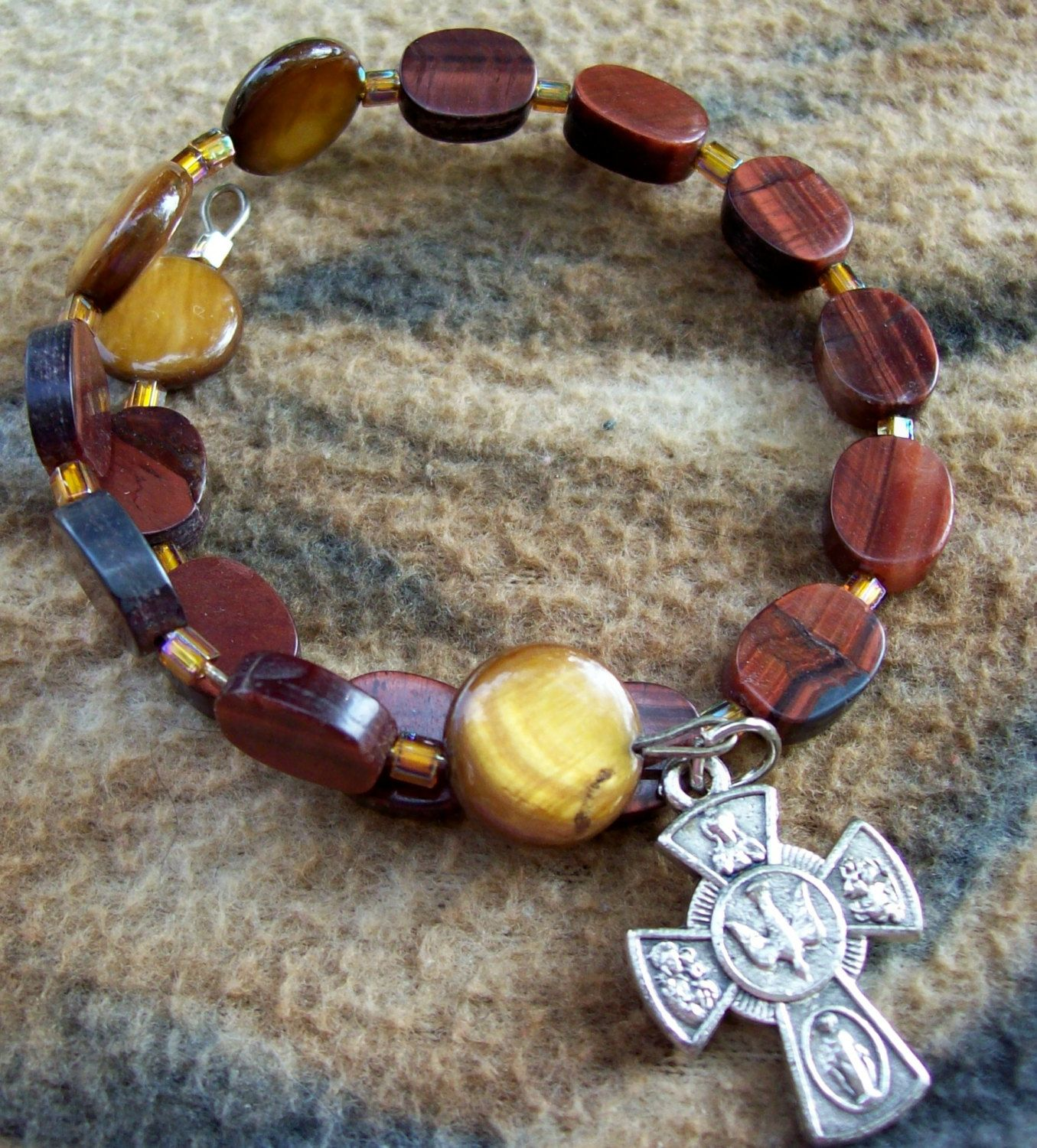 Brown Rosary one decade bracelet Memory wire by DezignsbyMel on Etsy