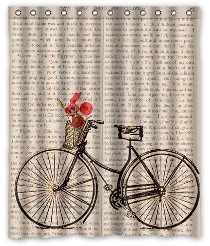 Creative Bath Products Bath Bicycle Shower Curtain 60 X 72