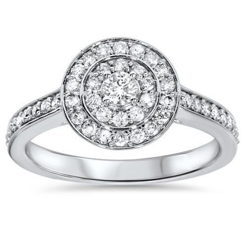 Diamond Engagement Ring, Double Halo Diamond Engagement Ring 0.55CT Double Halo Round Diamond Engagement Ring 10K White Gold - Size 4-9 by Pompeii3 on Etsy https://www.etsy.com/uk/listing/219742711/diamond-engagement-ring-double-halo