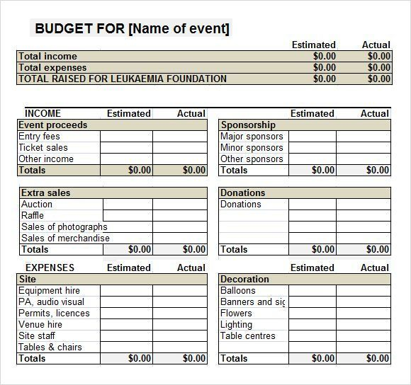 Fundraiser Event Budget Template   emmamcintyrephotography - Pricing Spreadsheet Template