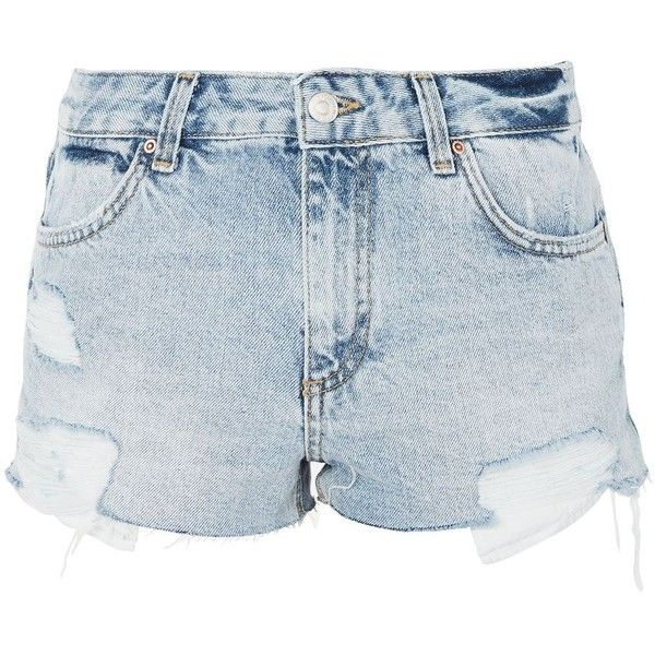TopShop Moto Bleach Cory Denim Shorts (155 BRL) ❤ liked on Polyvore featuring shorts, topshop, bleach stone, denim shorts, bleached shorts, low rise shorts, denim short shorts and topshop shorts