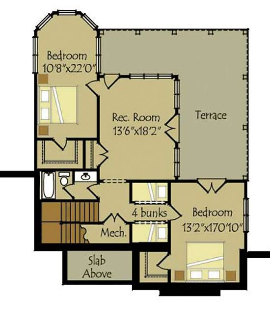 Small cottage plan with walkout basement basement floor for Walkout basement floor plans