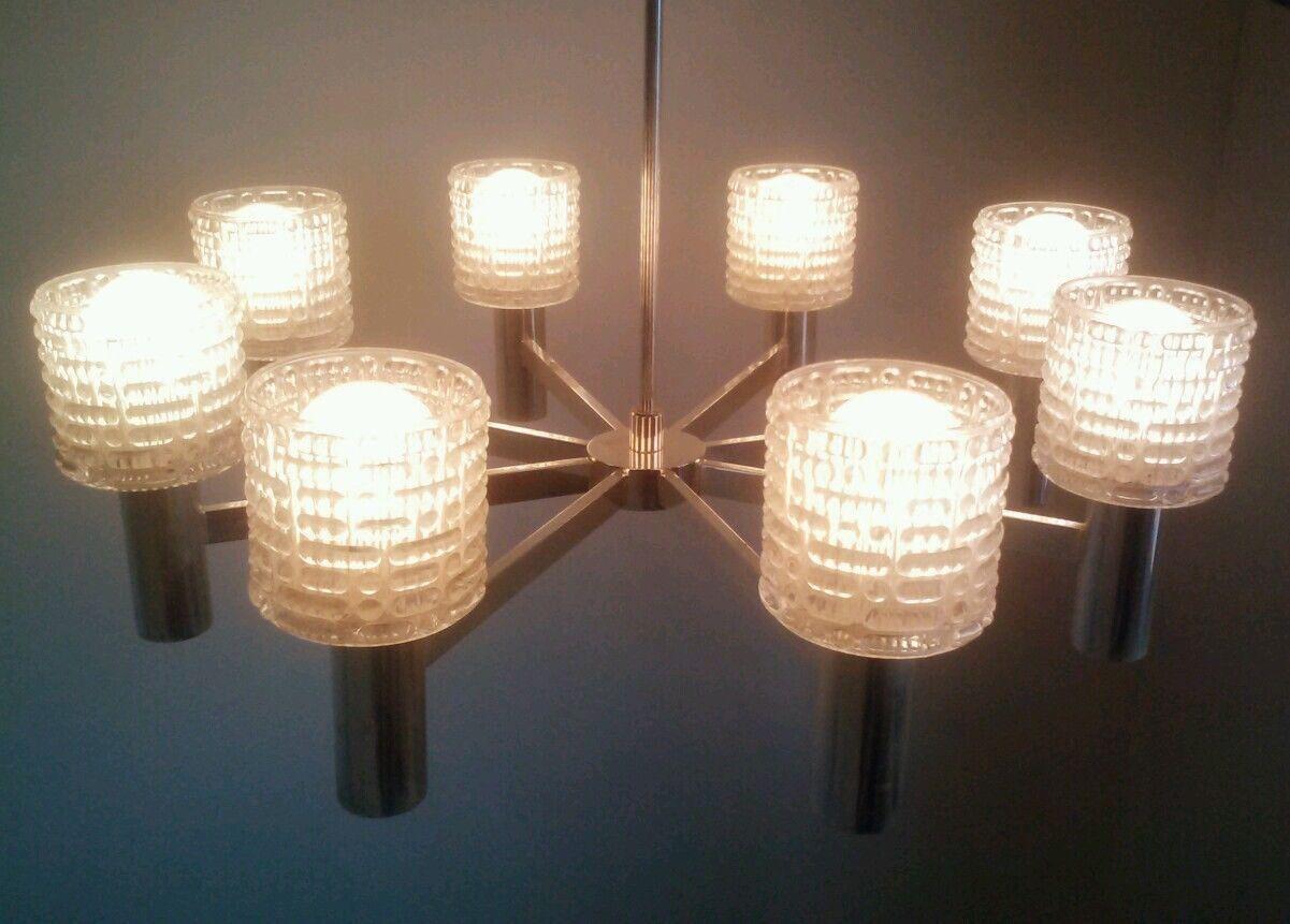 Vintage Hillebrand Artdeco Lamp Light Hanging Fixture Ceiling - Chandelier crystals ebay