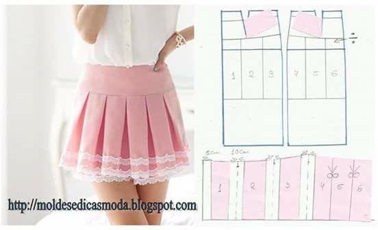 9f8e87883 Pollera tableada facil de hacer   sewing   Hacer falda, Patrones de ...