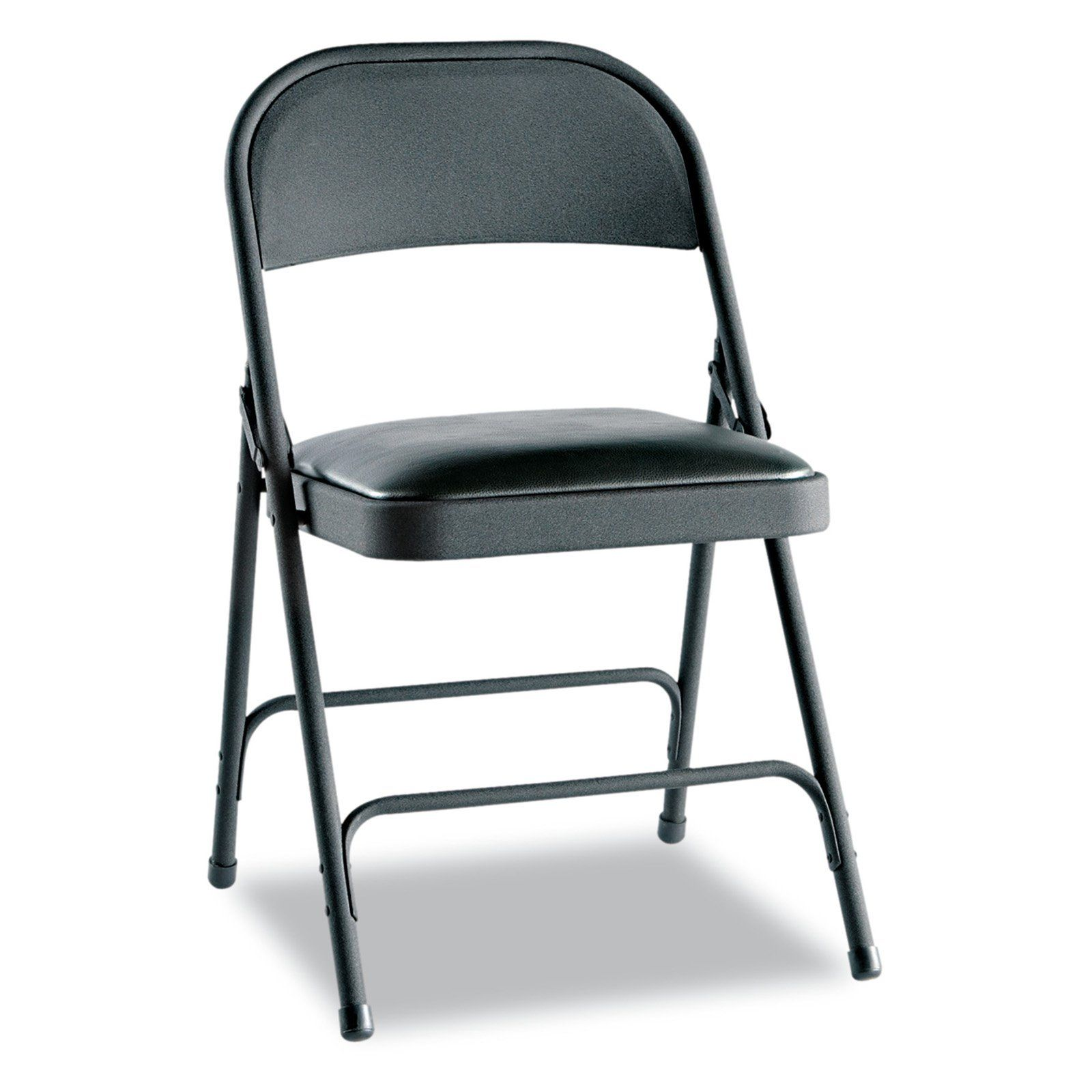 Alera Steel Folding Chair With Padded Seat Set Of 4 Graphite