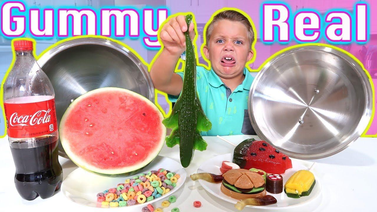 Gummy food vs real food blindfold obstacle gross big