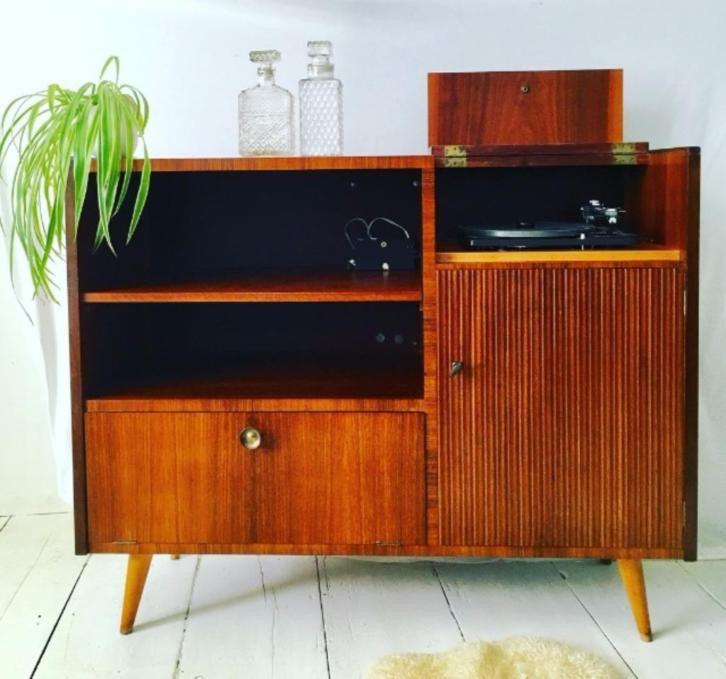 Uitzonderlijk Retro vintage platenspeler LP kast jaren 60 meubel kastje | huis &LC89