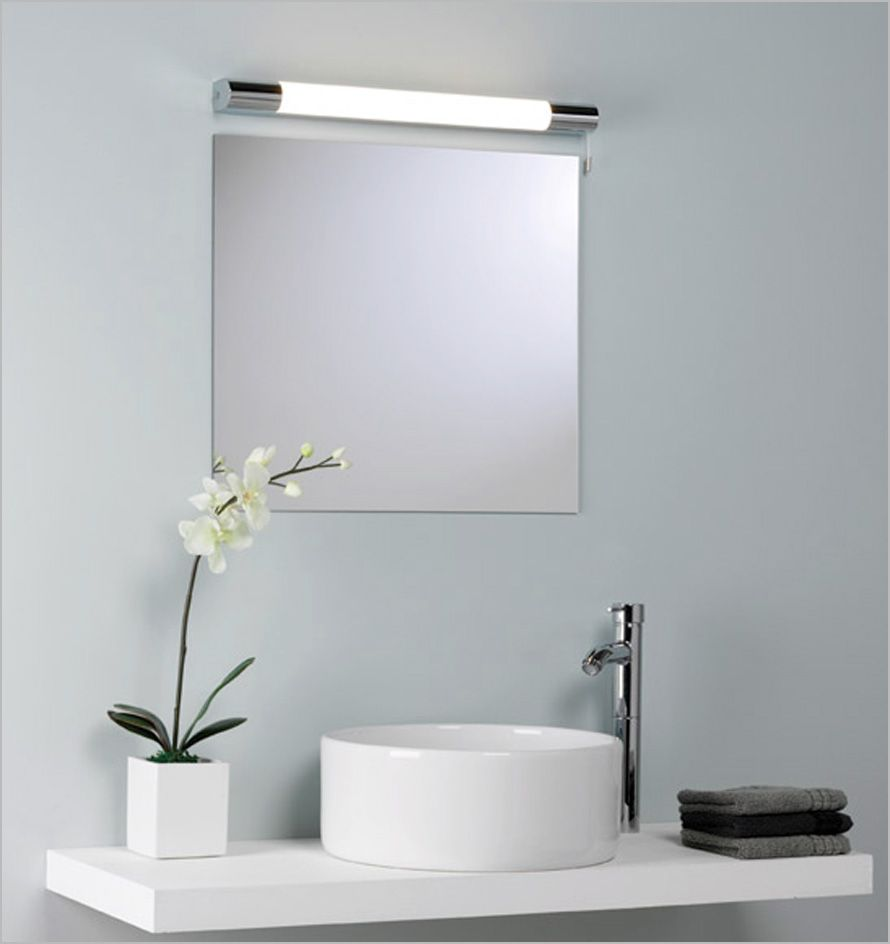 Square Vanity Mirror With Lights. Fascinating Bathroom Vanity Wall Lighting above Square Mirror with Modern  Faucet and Flower Vase