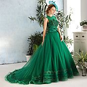 Formal+Evening+Dress+Ball+Gown+Jewel+Chapel+Train+Lace+/+Satin+/+Tulle+withAppliques+/+Beading+/+Bow(s)+/+Flower(s)+/+Lace+/+Pearl+–+GBP+£+163.99