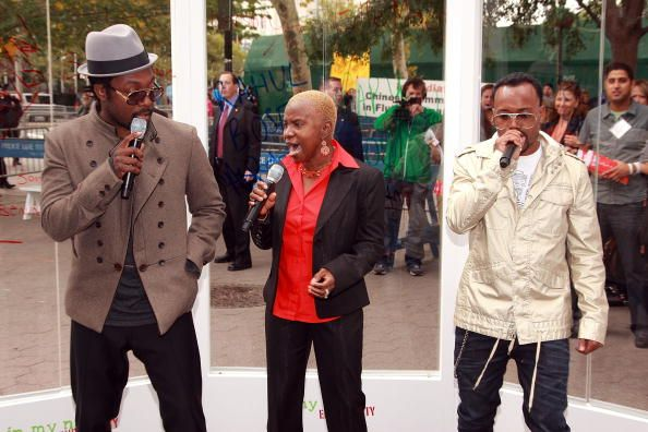 William Angelique Kidjo and apldeap perform at the launch of the 'In My Name' global campaign at Dag Hammarskjold Plaza on September 25 2008 in New...