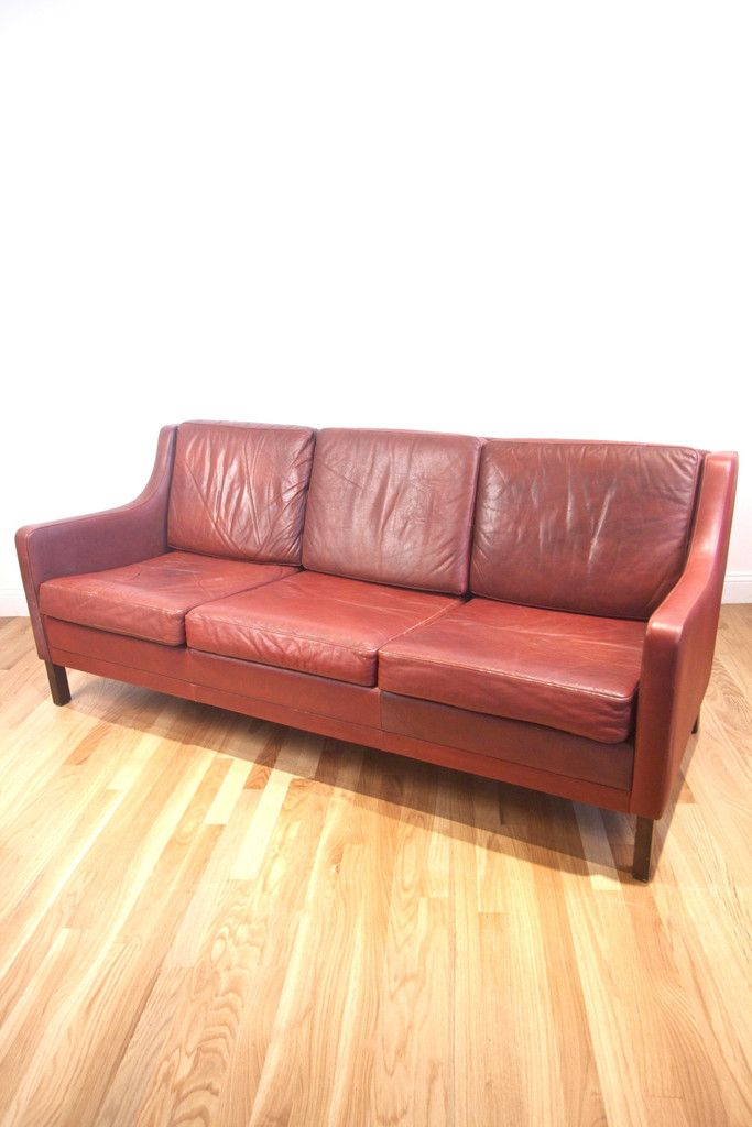 A Great 1960s Borge Mogensen Style Three Seater Leather Sofa Direct From Denmark Measurements 71 Wide X 31 Deep 17 Seat 29 Back