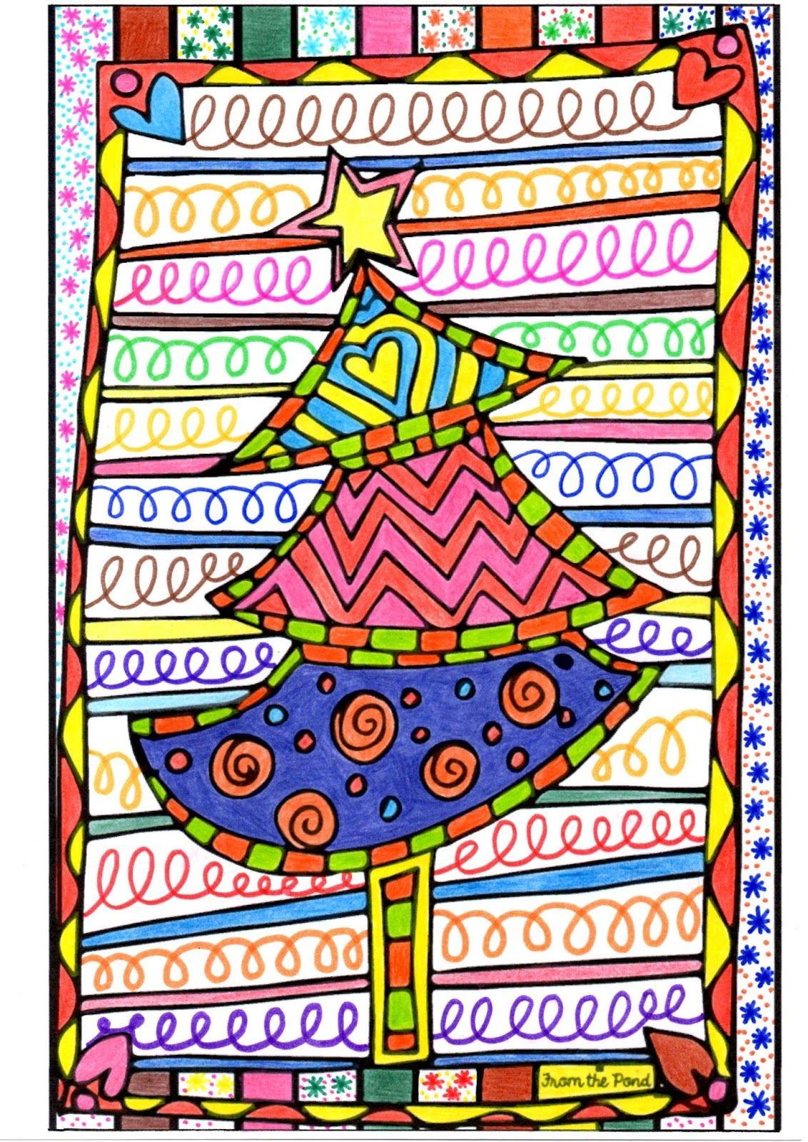 Un Sapin De Noël En Graphisme Décoratif Et En Coloriage Pour